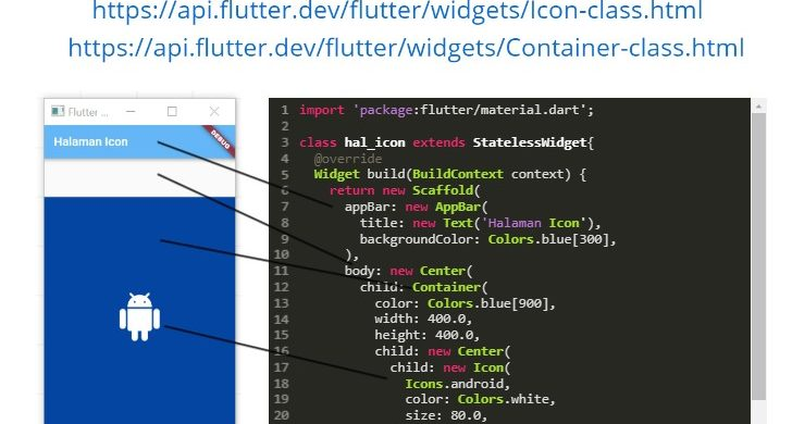 LATIHAN FLUTTER WEEK#1 : CONTAINER & ICON